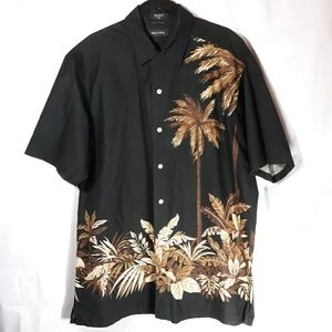 Nautica Black Hawaiian Tropical Casual Shirt